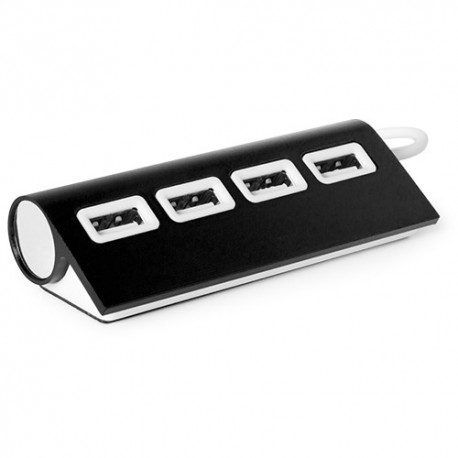 Puerto USB de diseño bicolor y elegante acabado en aluminio. Color negro