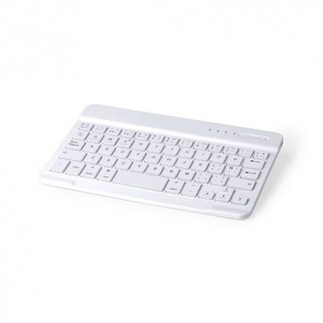 Teclado bluetooth de color blanco y diseño compacto