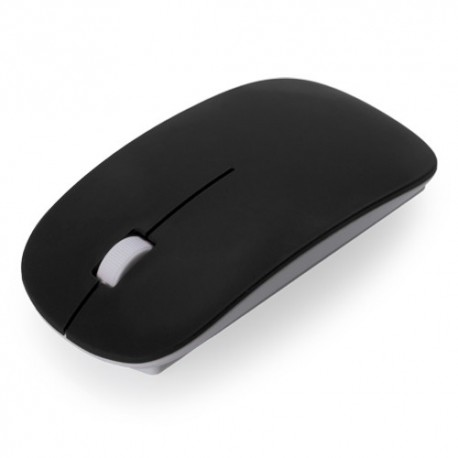 Práctico ratón óptico inalámbrico con diseño ergonómico. Color negro