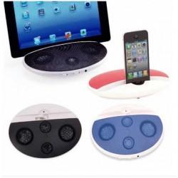 Altavoz compacto de diseño bicolor. Convertible en soporte para dispositivo móvil