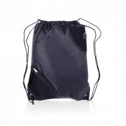 Mochila negra saco de poliéster con bolsillos