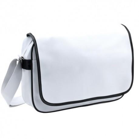 Elegante bolsa bandolera de pvc blanca