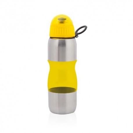 Botella bidón transparente de 600 ml. Color amarillo