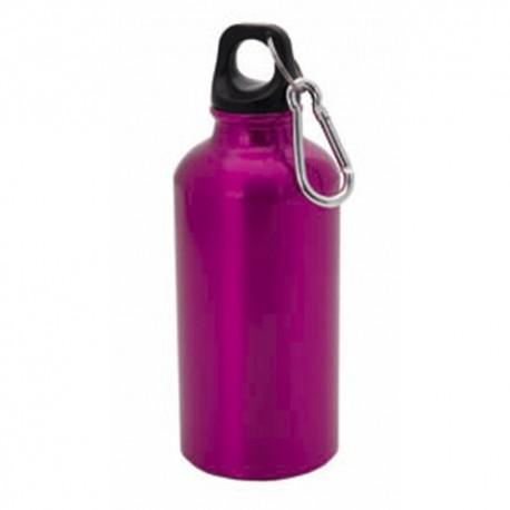 Botella bidón de aluminio 400 ml, con mosquetón y tapón de rosca