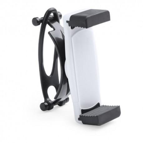 Soporte ajustable de manillar giratorio de 360º para movil. Color blanco.
