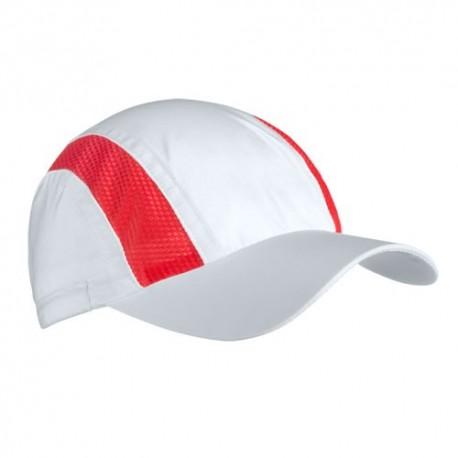 Gorra deportiva blanca y roja con cierre elástico
