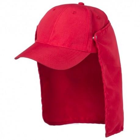 Gorra deportiva de color rojo con protector para el cuello