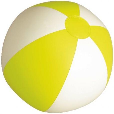 Balón para playa pvc en blanco y amarillo