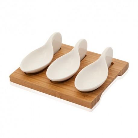 Set gourmet de bandeja de bambú y 3 cucharas de cerámica para aperitivos