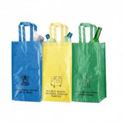 Pack de 3 bolsas para reciclaje en amarillo, verde y azul