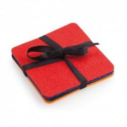 4 posavasos en resistente y suave fieltro en alegres colores: rojo, azul, negro y naranja