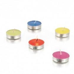 Set de 10 velas aromáticas con envase metálico y fragancia vainilla