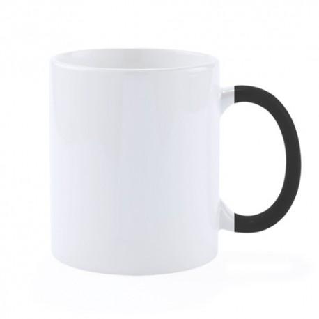 Taza de cerámica con asa de color negro