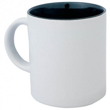 Taza de cerámica con el exterior blanco y el interior de color negro