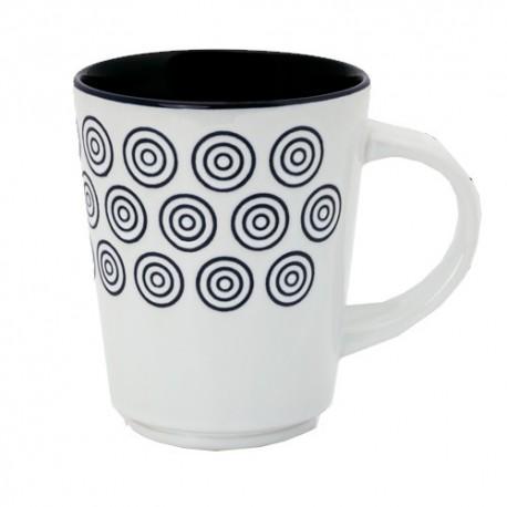 Taza de cerámica con divertidos diseños de circulitos en el exterior y el interior de color negro