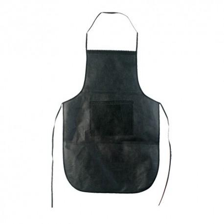 Delantal fabricado en Non-woven con bolsillo frontal y cintas para ajustar. Negro