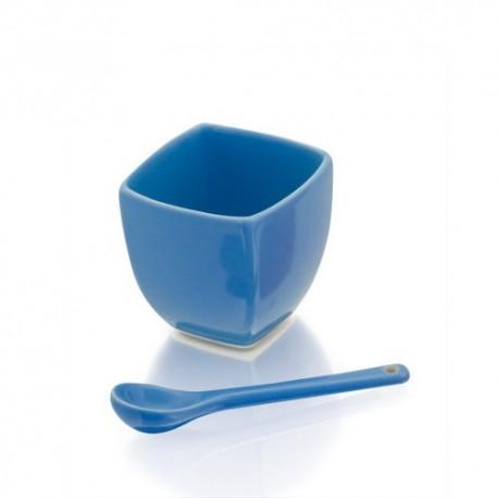 Original salsera de cerámica y cuchara, color azul