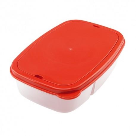 Fiambrera roja con compartimentos