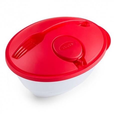 Ensaladera con tapadera roja con tenedor y botecito para aliños.