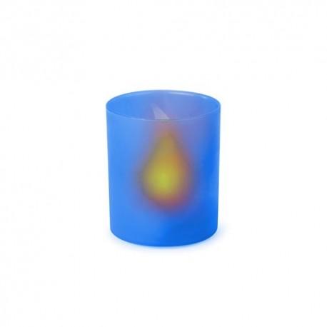 Vela led eléctrica con cuerpo translúcido azul