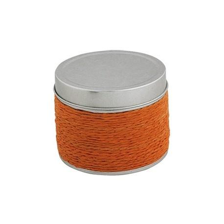 Vela aromática de naranja con envase metálico revestido de hilo naranja