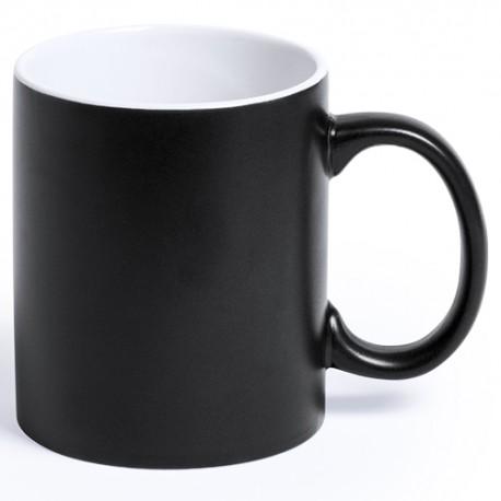 Taza negra de cerámica de alta calidad de 350 ml. de capacidad