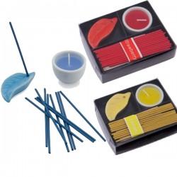 Set velas e incienso, incluye quemador de cerámica para las barritas de incienso