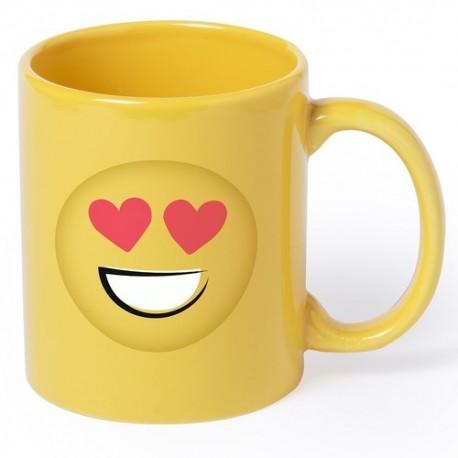 Taza amarilla con emoji ojos corazón