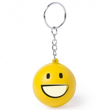 Llavero emoji antiestrés de color amarillo. Sonrisa