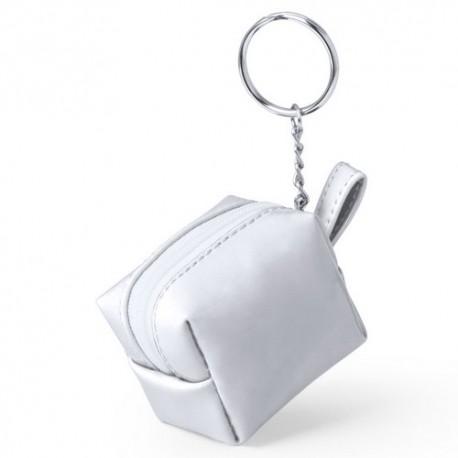 Llavero monedero de PVC. Color blanco