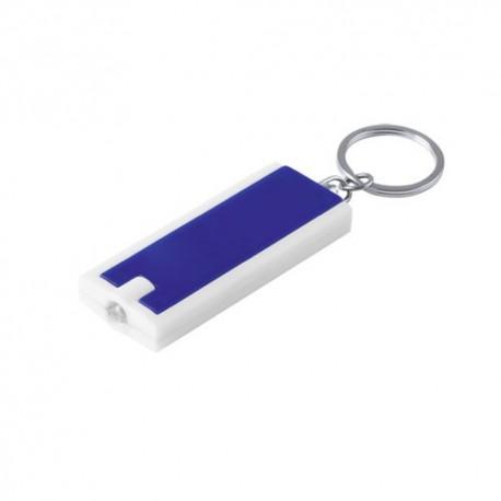 Llavero linterna led, bicolor y diseño extraplano. Color azul