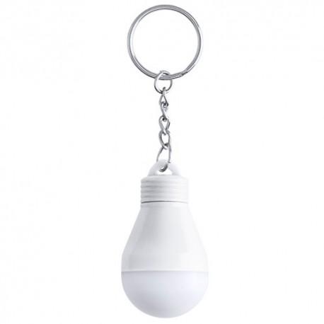 Llavero linterna led, diseño de bombilla. Color blanco