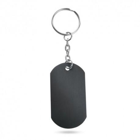 Llavero chapa con cuerpo de aluminio, color negro