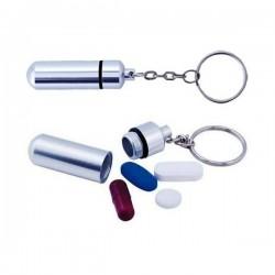 Llavero pastillero de discreto diseño con cuerpo en aluminio