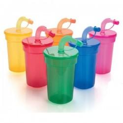 Vaso de plástico con tapa y pajita de 420 ml