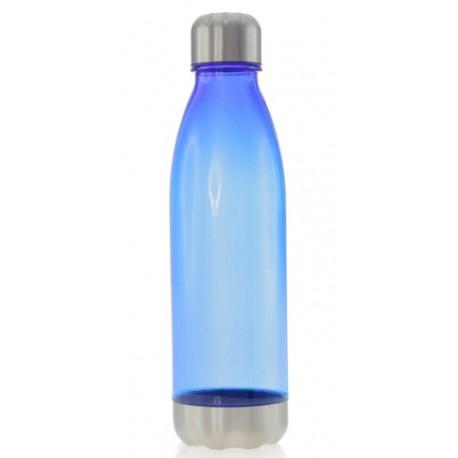 Botella de plástico con tapon y base de acero inoxidable