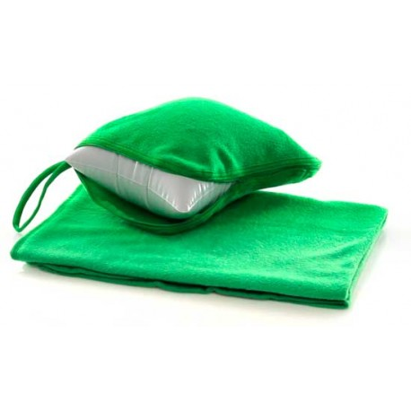 Manta polar con almohada. Color verde