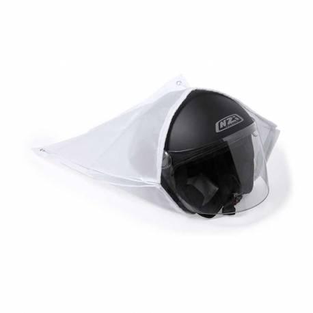 Mochila blanca tipo saco de cuerdas para casco