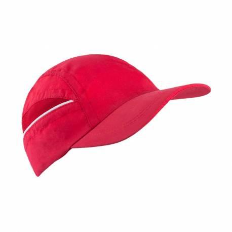 Gorra deportiva roja con redecilla para el sudor