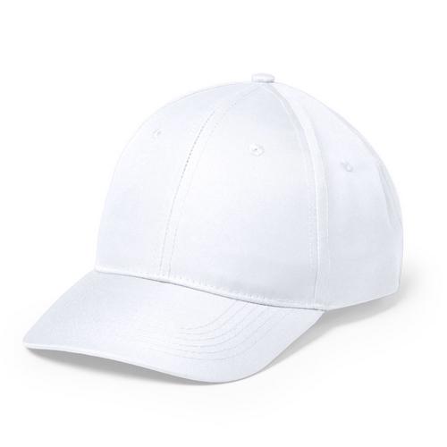 Gorra blanca de 6 paneles con cierre de velcro