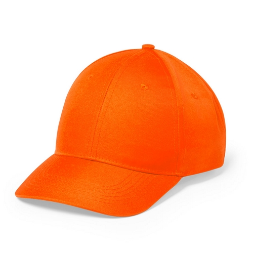 Gorra naranja de 6 paneles con cierre de velcro