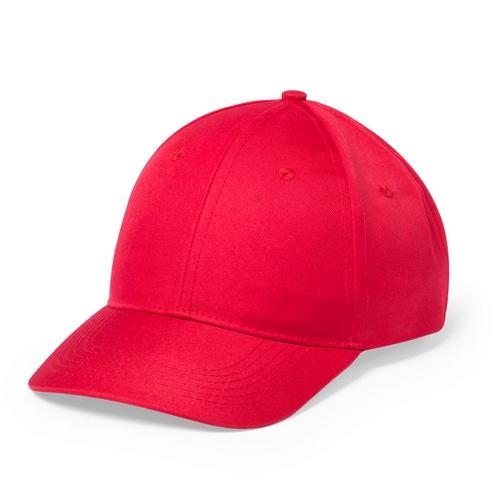 Gorra roja de 6 paneles con cierre de velcro