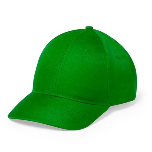 Gorra verde de 6 paneles con cierre de velcro