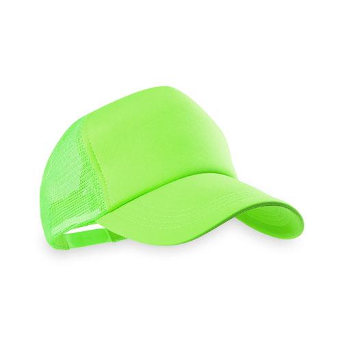 Gorra tipo trucker de poliester color verde fluorescente