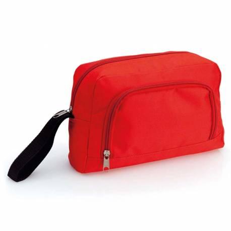 Neceser poliéster con bolsillo exterior, color rojo