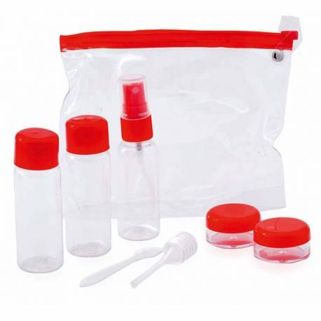 Set neceser viaje con accesorios, color rojo