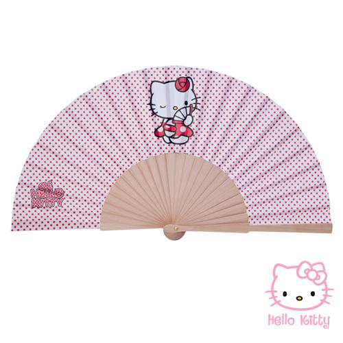 Abanico de madera Hello Kitty