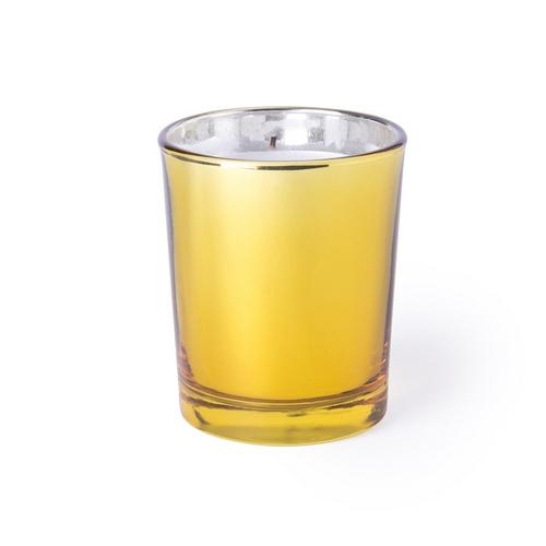 Vela aromática en recipiente de cristal