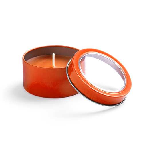 Vela aromática fragancia vainilla en tarro metálico