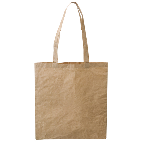 Bolsa ecológica de algodón y papel, color natural, asa larga